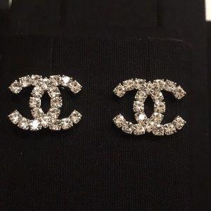 Chanel Classic CC Logo Silver Crystal Earrings